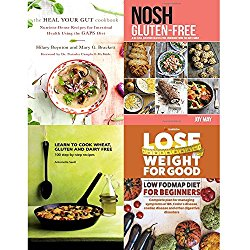 heal your gut cookbook, nosh gluten-free, learn to cook wheat, gluten and dairy free and lose weight for good low fodmap diet 4 books collection set