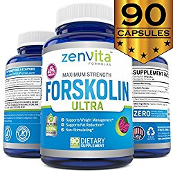 Pure Forskolin Extract 600mg – 90 Capsules w/ 40% Standardized Forskolin, Non-GMO & Gluten Free, Appetite Suppressant, MAX Strength Belly Fat Burner, Carb Blocker, Weight Loss Supplement