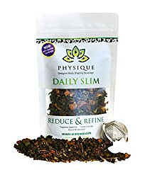 Daily Slim by Physique Tea | Natural Slimming and Weight Loss Blend with Appetite Suppressant Garcinia Cambogia | Get Fit and Energized | FREE Strainer Inside +15 Day Supply