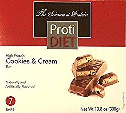 ProtiDiet High Protein Cookies & Cream Bar 15 grams protein per serving 7 servings, 10.8oz