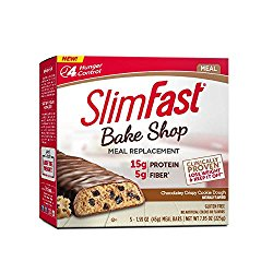 SlimFast Bakeshop, Meal Replacement, Chocolatey Crispy Cookie Dough Bar, With 15g Of Protein & 5g Fiber, 1.59 Oz, 5 Count