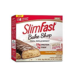 SlimFast Bakeshop, Meal Replacement, Chocolatey Peanut Butter Bar, With 15g Of Protein & 5g Fiber, 1.59 Oz, 5 Count