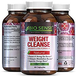 Garcinia Cambogia Weight Loss Supplement with Pure Green Tea, Green Coffee Bean, Raspberry Ketones Diet Pills for Women and Men Natural Carb Block Fat Burn Appetite Suppressant by  Bio Sense