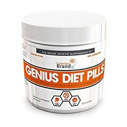 GENIUS DIET PILLS – The Smart Appetite Suppressant for Safe Weight Loss, Natural 5-HTP & Saffron Supplement Proven For Women & Men – Cortisol Manager + Mood, Stress and Thyroid Support, 50 Veggie Caps