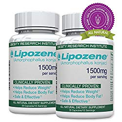Lipozene Green Diet Pills – All Natural Weight Loss Supplement – Appetite Suppressant and Control – Two Bottles 60 Veggie Capsules – No Stimulants, No Jitters