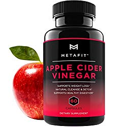 Apple Cider Vinegar Pills For Weight Loss – 60 ACV Capsules for Natural Detox Cleanse Diet – 1250mg Daily – Belly Fat Burner Supplement for Women & Men by METAFIT