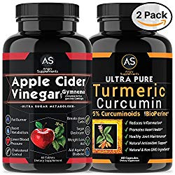 Apple Cider Vinegar Pills for Weightloss and Turmeric Curcumin [2 Pack Bundle] Natural Detox Remedy Includes Gymnema, Garcinia, & BioPerine for Complete Diet and Health – Best Starter Kit or Gift.