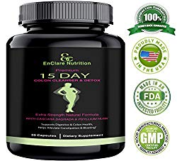 DETOX AND COLON CLEANSE FOR WEIGHT LOSS, Reduce Belly. Extra Strength Diet Pills with Natural Laxatives, Fiber, Acidophilus, Promotes Healthy Bacteria in Interstines 15-Day Colon Cleansing Detox