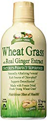 Garden Greens Wheat Grass Liquid with Real Ginger Extract, Nature's Perfect Superfood, 32 servings