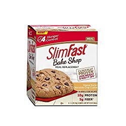 SlimFast Bakeshop, Meal Replacement, Peanut Butter Chocolate Chip Cookie, with 10g of Protein & 5g Fiber, 2.4 oz, 4 Count