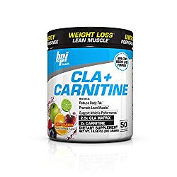 BPI Health CLA + Carnitine Non-Stimulant Weight Loss Supplement Powder, Fruit Punch, 50 Servings, 10.58 Ounce