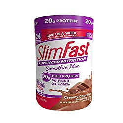 SlimFast – Advanced Nutrition High Protein Smoothie Powder – Meal Replacement – Creamy Chocolate – Great Taste – 5g of Fiber – 24 Vitamins & Minerals 22 oz. Canister