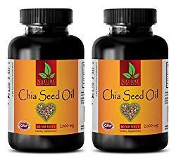 Brain Enhancer Pills – Chia Seed Oil 2000 Mg – Chia Seeds Bulk – 2 Bottles (120 Softgels)