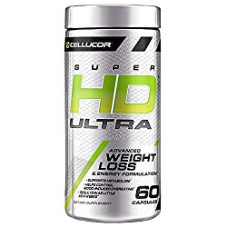 Cellucor SuperHD Ultra Thermogenic Fat Burner for Men & Women, Weight Loss Supplement with Green Coffee Bean & Leaf Extract, Metabolism & Energy Booster, 60 Capsules