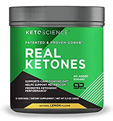 Keto Science Real Ketones Powder Dietary Supplement, Sugar-Free Lemon Drink Mix, Supports Carb-Fighting Diet, 5.3 oz, 15 Servings