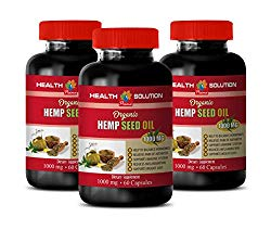 Nerve Support Formula – Hemp Seed Oil Organic 1000 mg – Dietary Supplement – Hemp Oil Extract for Pain, Anxiety & Stress Relief – 3 Bottles 360 Liquid Capsules
