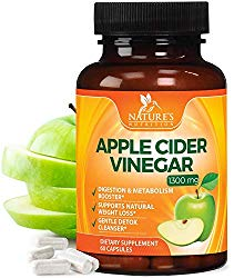 100% Natural Raw Apple Cider Vinegar Capsules 1300mg – Max Potency Raw ACV Pills for Fast Weight Loss, Appetite Suppressant & Metabolism Booster – Gentle Detox Cleanse – 60 Capsules