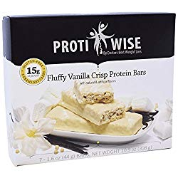 ProtiWise – High Protein Diet Snack Bars | Fluffy Vanilla Crisp | Low Calorie, Low Fat, LowSugar, High Fiber, Gluten Free (7/Box)