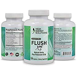 HIGH ENERGY SOLUTIONS Flush XS 120 Capsules Herbal Diuretic Supplements For Water Retention, PMS, Edema, Blood Pressure, Bloating Maximum Strength (1396mg/Serving) – GMP – USA