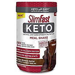 Slimfast Keto Meal Replacement Powder Fudge Brownie Batter Canister, 13.4 oz, Pack of 1