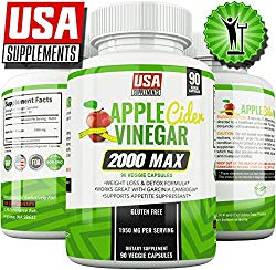Apple Cider Vinegar Capsules for Weigh Loss | 1,950mg | 100% Pure Raw Organic Veggie Caps | Detox, Healthy Blood Sugar, Digestion, Appetite Suppression & ACV Bloating Relief Pills for Women & Men