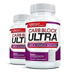 CARB BLOCK ULTRA (2 Bottles) Clinical Strength Carbohydrate & Starch Blocker Supplement with White Kidney Bean Extract – Lose Weight Without Dieting! 60 capsules per bottle