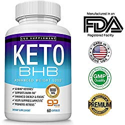 Keto Pills Advanced Weight Loss BHB Salt – Natural Ketosis Fat Burner Using Ketone & Ketogenic Diet, Boost Energy While Burning Fat, Fast & Effective Perfect for Men Women, 60 Capsules, Lux Supplement