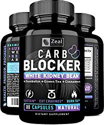 Keto White Kidney Bean Carb Blocker + Forskolin [80 Capsules] White Kidney Bean Extract & Forskolin Extract for Healthy Weight Management & Carb Intercept w Green Tea – Starch Inhibitor for Keto Diet