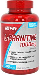 MET-Rx L-Carnitine 1000 Supplement, Supports Muscle Recovery, 180 Caplets