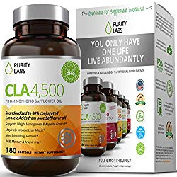 Purity Labs CLA 4,500 Safflower Oil Number One Natural Weight Loss Fat Burner Supplement 180 Softgels Non-GMO & Gluten Free Conjugated Linoleic Acid Pills Belly Fat Burner