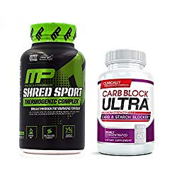Shred Sport (60 Capsules) & Carb Block Ultra (60 Capsules) – Professional Strength Fat Burning, Weight Loss Package. Double Your Results!