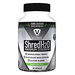 VIZINX Shred H2O Herbal Diuretic – #1 Formula with Dandelion, Green Tea, Cranberry, Apple Cider Vinegar, Buchu, Juniper, Watermelon & More. Supports Healthy Potassium Levels & Water Balance 60 caps.