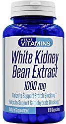 White Kidney Bean 1000mg – 180 Capsules (Non GMO & Gluten Free) – White Kidney Bean Supplement – Helps to Support Carbohydrate and Starch Blocking for Healthy Weight