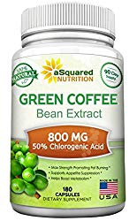 100% Pure Green Coffee Bean Extract – 180 Capsules – Max Strength Natural GCA Antioxidant Cleanse for Weight Loss, 800mg w/ 50% Chlorogenic Acid per Pill, 1600mg Daily Supplement, Healthy Fat Burner
