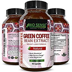 100% Pure Green Coffee Bean Extract Highest Quality 800 mg Best Weight Loss Formula for Women and Men Natural Diet Pills Fat Burner Metabolism Booster Antioxidant 60 Capsules by Bio Sense