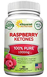 100% Pure Raspberry Ketones 1000mg – 180 Capsules – All Natural Weight Loss Supplement, Max Strength Plus Appetite Suppressant Diet Pills, Premium Lean Health Extract to Boost Energy & Metabolism