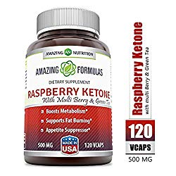 Amazing Formulas Raspberry Ketone – 500 Mg, 120 Vcaps – Boosts Metabolism, Supports Fat Burning and Appetite Suppressor