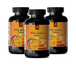 Brain Booster Vitamins – Wild Alaskan Salmon Oil 2000 mg – Rich in Omega 3 Fatty ACIDS – Omega 3 Fish Oil for Women – 3 Bottles 270 Softgels