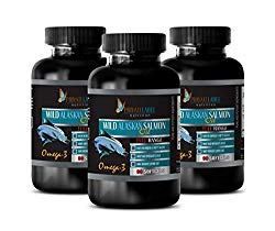 Brain Function Support Supplements – Wild Alaskan Salmon Oil – Rich in Omega-3 Fatty ACIDS – Omega 3 dha epa – 3 Bottles 270 Softgels