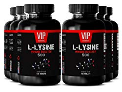 Fitness diet and nutrition – L-LYSINE IMMUNE BOOSTER 500 – Improve physical performance – 6 Bottles 600 tablets