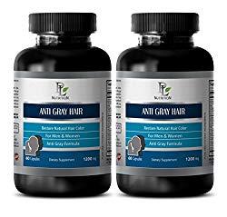 Gray hair vitamins – ANTI GRAY HAIR NATURAL COMPLEX 1200mg – Biotin for hair loss for men – 2 Bottles 120 Capsules