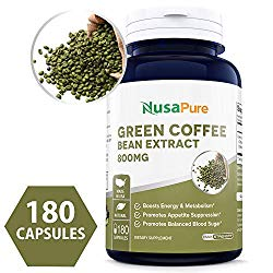 Green Coffee Bean Extract 800mg 180caps (Non-GMO, Gluten Free & 50% Chlorogenic Acid) Max Strength Natural GCA Antioxidant Cleanse for Weight Loss