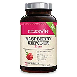 NatureWise Raspberry Ketones Plus | Advanced Weight Loss & Appetite Suppressant with Powerful Antioxidant Blend Boosts Energy & Metabolism | Vegan & Gluten-Free [2 Month Supply – 120 Veggie Capsules]