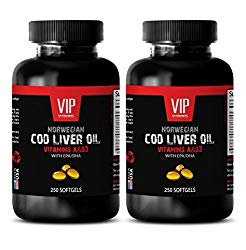 NORWEGIAN COD LIVER OIL with Vitamins A & D3/EPA & DHA – Mental wellness – 2 Bottles 500 Softgels