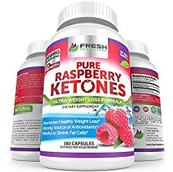 Pure 100% Raspberry Ketones Max 1000mg Per Serving – 3 Month Supply – Powerful Weight Loss Supplement – Provides Energy Boost for Weight Loss – 180 Capsules by Fresh Healthcare