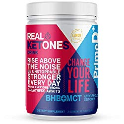Real Ketones Prime D+ Keto BHB (Beta-Hydroxybuterate) and MCT Exogenous Ketones Powder Low Carb Ketogenic Drink to Boost Energy and Mental Clarity (Lemon Twist) (28 Serving)