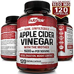 Apple Cider Vinegar Capsules with Mother 1600mg – 120 Vegan ACV Pills – Best Supplement for Healthy Weight Loss, Diet, Keto, Digestion, Detox, Immune – Powerful Cleanser & Appetite Suppressant Non-GMO
