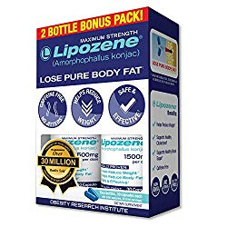 Lipozene – Weight Loss Supplement Diet Pills – Appetite Suppressant and Control – Two Bottles 60 Capsules Total