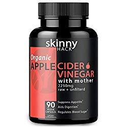 Organic Apple Cider Vinegar Capsules with Mother – Max Dose (2200 mg) Raw Unfiltered ACV Pills for Weight Loss, Detox and Anti-Bloating (90 Vegan ACV Capsules)