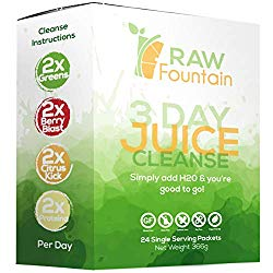 3 Day Juice Cleanse Detox, 24 Powder Packets, Travel & Vegan Friendly, Weight Loss Program, All Natural (3 Day)